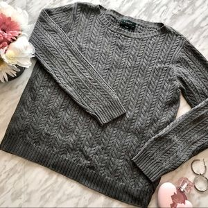 Lauren Ralph Lauren Grey Cable Knit Sweater Small